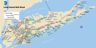 Map of New York City Long Island Rail Road (LIRR) rail network