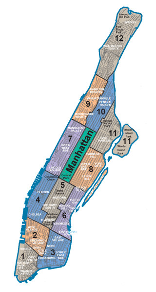 Map of Manhattan neighborhoods & quarters