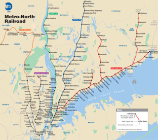 Map of New York City Metro North Railroad (MNR) rail network