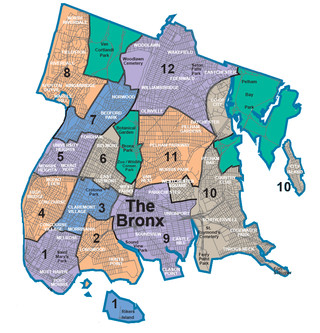 Map of Bronx neighborhoods & quarters