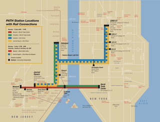 Map of New York City Port Authority Trans-Hudson rail network