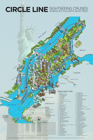 Map of New York City cruises with Circle Line Sightseeing