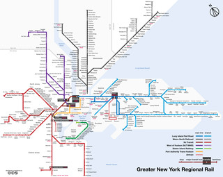 Map of New York City train, urban, commuter & suburban railway network