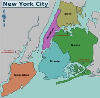 Map of New York City boroughs, districts & areas