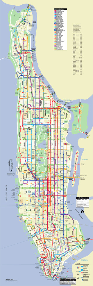 Map of Manhattan bus network