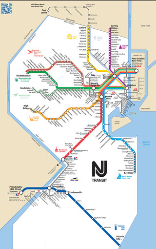 Map of New Jersey Transist rail network